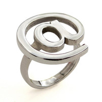 Email At Sign Unique Big Ring Sterling Silver Geek by arosha