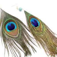 Peacock Feather Wing Earrings
