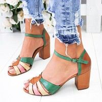 High-heeled and thick-heeled color-matching buckles for women's shoes