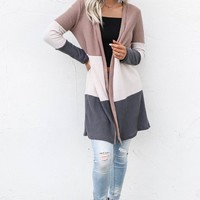 A Lifetime Thermal Color Block Cardigan