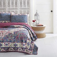 Azalea 3PC Boho Microfiber Blue Quilt Set