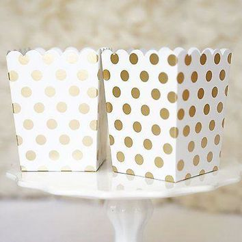 10 Gold and White Polka Dot Popcorn Favor Boxes Bridal Baby Shower to Pop Gold Foil