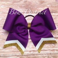 """3"""" Team Cheer Bow with Tail Stripes"""