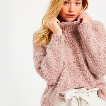 Textured Turtle Neck Oversized Pullover Sweater - Twig