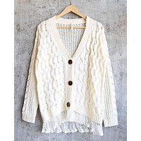 Final Sale - Oversized Cable-Knit Cardigan with Lace Trim in Ivory