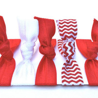 Valentine Hair Ties - Red & White No Crease Hair Ties - Yoga Hair Elastics - Stretchy Fabric Bracelet - Chevron Hair Accessories - Headbands