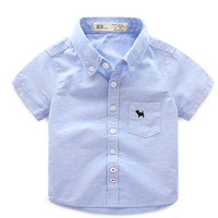2017 summer children's clothes boys shirts solid short sleeve cotton baby shirts for boys girls kids causal turn down shirt top