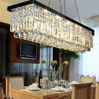 "Siljoy L39.5"" X W10"" X H10"" Clear K9 Rectangle Crystal Polished Chrome Frame Modern Crystal Chandelier Ceiling Light Fixture Lighting"