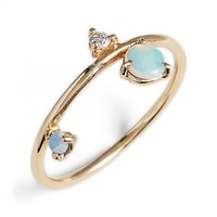 Women's WWAKE 'Counting Collection - Three-Step Balloon' Opal & Diamond Ring - Yellow Gold