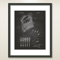 Nail Polish Kit 1955 Patent Art Illustration - Drawing - Printable INSTANT DOWNLOAD - Get 5 Colors Background