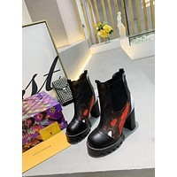 lv louis vuitton trending womens black leather side zip lace up ankle boots shoes high boots 173