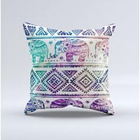 Tie-Dyed Aztec Elephant Pattern  Ink-Fuzed Decorative Throw Pillow