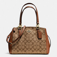 New Authentic Coach F36619 Small Christie Carryall Satchel Shoulder Bag in Signature PVC Khaki Saddle