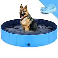 GoStock Dog Pool for Large Dogs, Folding Kiddie Pool, Pet Pools for Dogs, Collapsible Pool for Dogs L:120*30cm(48inch.D*12inch.H)