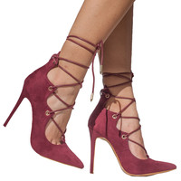 ALAIAH LACE UP PUMP - WINE