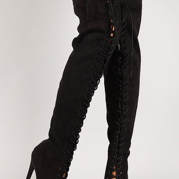 Qupid Suede Lace Up Peep Toe Over-The-Knee Boot
