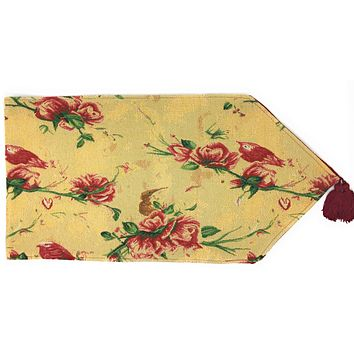 Tache Floral Red Roses Hummingbirds Golden Woven Tapestry Table Runner (18115)