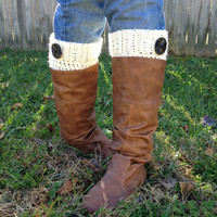 White Crochet Boot Cuffs, Leg Warmers with brown buttons