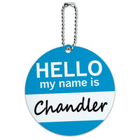 Chandler Hello My Name Is Round ID Card Luggage Tag
