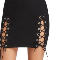 Double Slit Pencil Skirt Vintage Sexy Lace Up Women Black Club Mini Skirts Ladies Cut Out Slim Party Skirt
