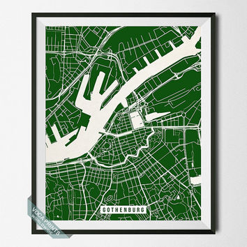 Gothenburg Print, Sweden Poster, Gothenburg Street Map, Sweden Print, Swedish Decor, Home Decor, Map Print, Wall Art, Back To School