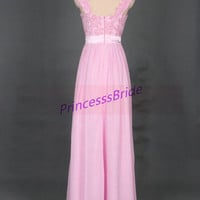 Latest pink chiffon prom gowns with lace,inexpensive bridesmaid dresses hot,elegant women dress for prom party.