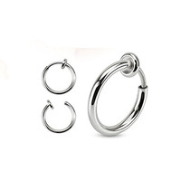Pair of Silver IP Spring Action Fake Septum Ring in Rhodium Plated Brass Rings Ear Cuff F22