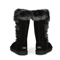 """UGG"" Winter Popular Women Warm Fur Wool Snow Boots Half Boots Shoes Black I/A"