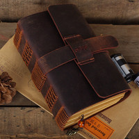 Hand made Leather Journal Handmade Journal Engraved Leather notebook journal Leather Diary handmade diary antique journal