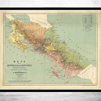 Vintage Map of Costa Rica 1889