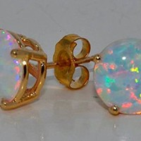 Simulated Opal Round Stud Earrings 14Kt Yellow Gold & Sterling Silver