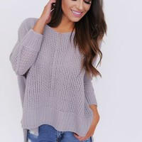 OVERSIZE KNIT SWEATER- LAVENDER