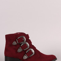 Qupid Triple Buckle Cowgirl Ankle Boots