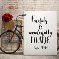 """Bible Verse Quote wall art Psalm 139:14 """"I praise you, for I am fearfully and wonderfully made"""" Inspirational Quote INSTANT DOWNLOAD"""