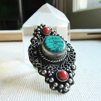Bohemian Dream. Vintage Statement Ring.  Size 8