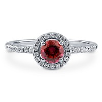 Sterling Silver with Round Red Swarovski Zirconia Halo Ring 0.63 ct.twBe the first to write a reviewSKU# R989-SWRD