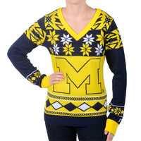 University of Michigan Wolverines KLEW Women's V Neck Big Logo Ugly Sweater Sizes S-XL w/ Priority Shipping