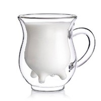 Umiwe(TM) Cute Calf and Half Transparent Heat-Resisting Double-layer Glass Cup/Creamer Pitcher With Umiwe Accessory Peeler