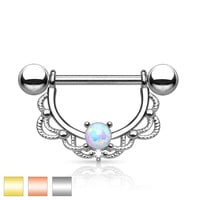 Opal Centered Fligree Drop 316L Surgical Steel Nipple Rings Pre Order Silver