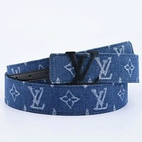 Inseva Louis Vuitton LV Fashion New Monogram Print Women Men Leisure Belt Blue