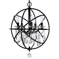 5 Light Modern Crystal Orb Plug-In Chandelier (Black)