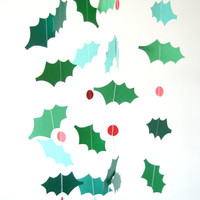 Paper Holly Leaf Garland - Holiday Decoration - Christmas Garland, Christmas Bunting