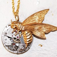 $45.00 Steampunk Necklace  Gold Bee Vintage Watch by TimeInFantasy