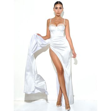 Vanity White Satin High Slit Draping Corset Gown With Crystals