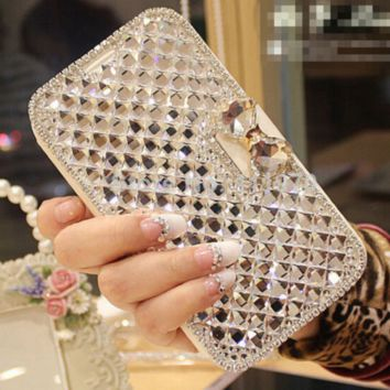 Luxury Bling Crystal & Diamond Leather Flip Case for iPhone 6 4.7 & 6s plus 5.5 Case for Apple