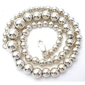 Italian Sterling Silver Pearl Bead Necklace 16""