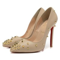 CL Christian Louboutin Women Rivet Pointed Toe Heels Shoes-4