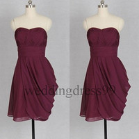 Custom Burgundy Short Bridesmaid Dresses 2014 Simple Prom Dresses Fashion Evening Gowns Party Dress Cocktail Dress Wedding Party Dress
