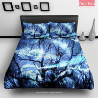 Woods Silhouette Blue Nebula Galaxy Bedding Sets Home Gift Home & Living Wedding Gifts Wedding Idea Twin Full Queen King Quilt Cover Duvet Cover Flat Sheet Pillowcase Pillow Cover 065