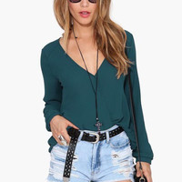 Plain V Neck Chiffon Shirt